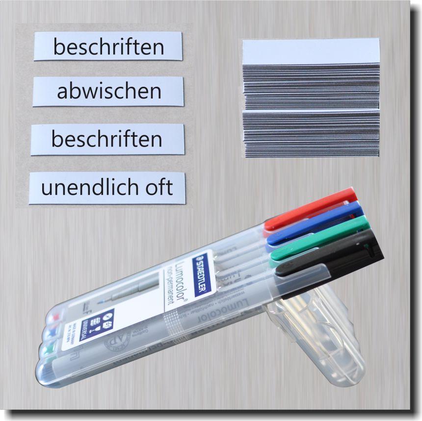 100 Magnetstreifen  4 Stifte beschreibbar Kühlschrank Regal Schilder Magnetfolie